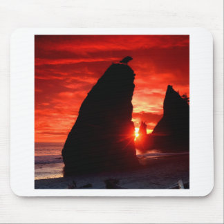 Sunset Sea Stacks Blood Red Mouse Pad