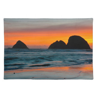 Sunset, Sea Stacks, Oceanside, Oregon, USA Cloth Placemat
