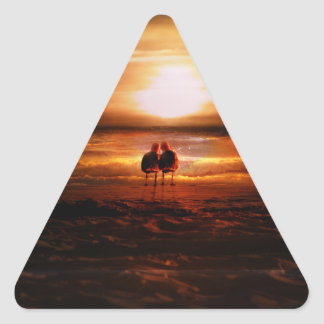 Sunset Seagulls - Love Birds on the Beach Sticker