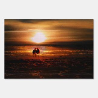 Sunset Seagulls - Love Birds on the Beach Lawn Signs