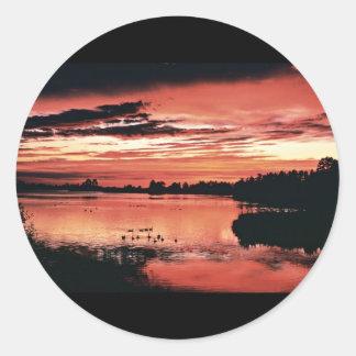 Sunset, Seney National Wildlife Refuge Round Stickers