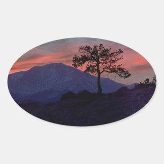 Sunset Sentinel Oval Sticker