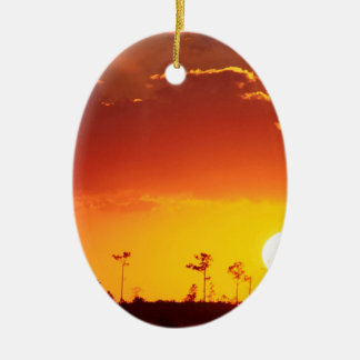 Sunset Setting Swampland Everglades Florida Double-Sided Oval Ceramic Christmas Ornament