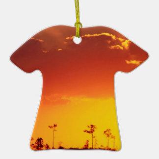 Sunset Setting Swampland Everglades Florida Double-Sided T-Shirt Ceramic Christmas Ornament