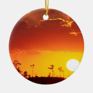 Sunset Setting Swampland Everglades Florida Double-Sided Ceramic Round Christmas Ornament