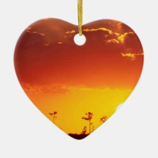Sunset Setting Swampland Everglades Florida Double-Sided Heart Ceramic Christmas Ornament