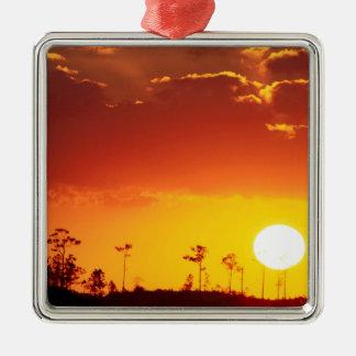 Sunset Setting Swampland Everglades Florida Square Metal Christmas Ornament