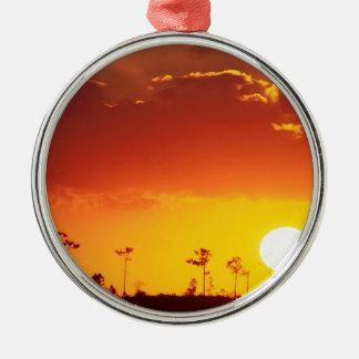 Sunset Setting Swampland Everglades Florida Round Metal Christmas Ornament
