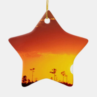 Sunset Setting Swampland Everglades Florida Double-Sided Star Ceramic Christmas Ornament