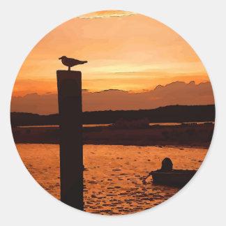 sunset shot classic round sticker