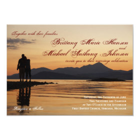 Sunset Silhouette Couple Lake Wedding Invitations 4.5