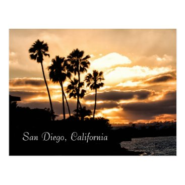 Sunset Silhouette In San Diego Postcard