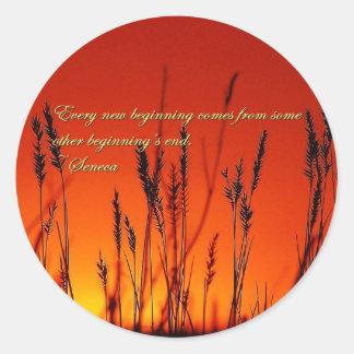 Sunset Silhouette Inspirational Classic Round Sticker