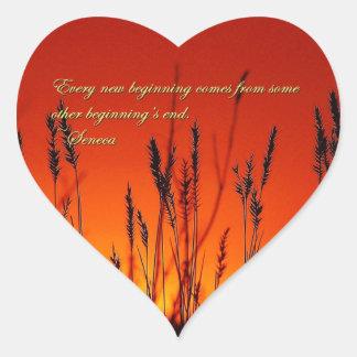 Sunset Silhouette Inspirational Heart Sticker
