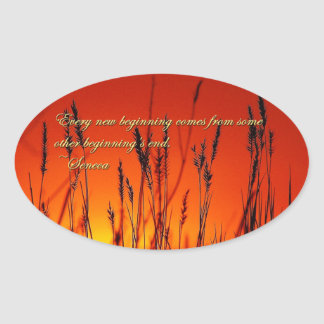 Sunset Silhouette Inspirational Oval Sticker