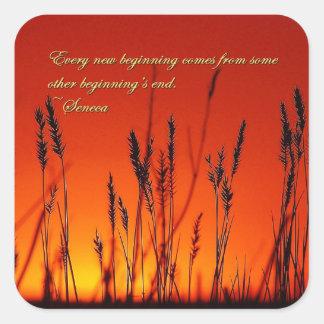 Sunset Silhouette Inspirational Square Sticker