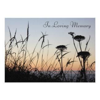 Sunset Silhouette Memorial Service Announcement