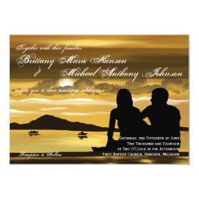 Sunset Silhouette Mountain Lake Wedding Invitation 4.5