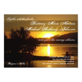 Sunset Silhouette Tree Lake Wedding Invitations 4.5
