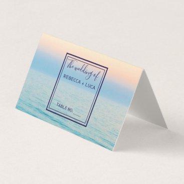 Sunset Skies Beach Ocean Wedding Table Place Card