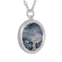 Sunset Skies Fractal Silver Plated Necklace