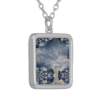 Sunset Skies Fractal Traced with Mirroring Pattern Silver Plated Necklace