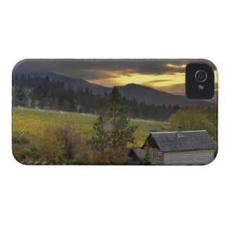 Sunset sky over vineyards and historic log cabin iPhone 4 Case-Mate case