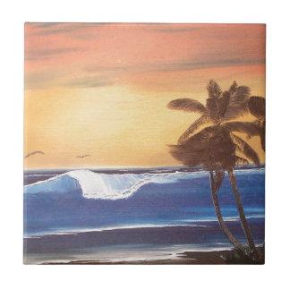 Sunset Sky, Palms & Ocean Ceramic Tile