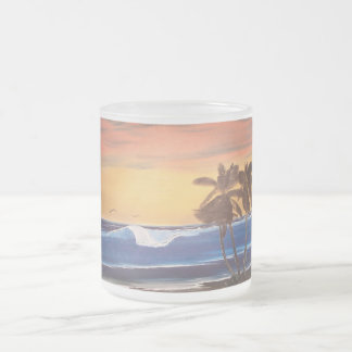 Sunset Sky, Palms & Ocean Frosted Glass Coffee Mug