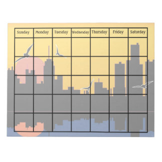 Sunset Skyline Scheduling Calendar Blank Notepad