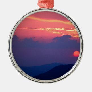 Sunset Smokey Mountain Mortons Overlook Metal Ornament