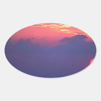 Sunset Smokey Mountain Mortons Overlook Oval Sticker