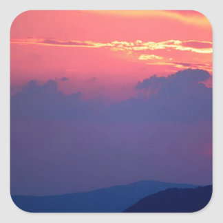 Sunset Smokey Mountain Mortons Overlook Square Sticker