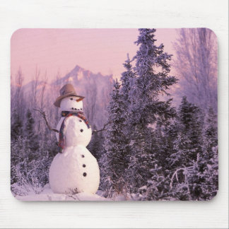 Sunset Snowman in the Winter Mountains Mouse Pad