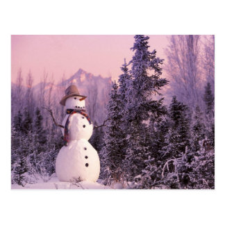 Sunset Snowman in the Winter Mountains Postcard