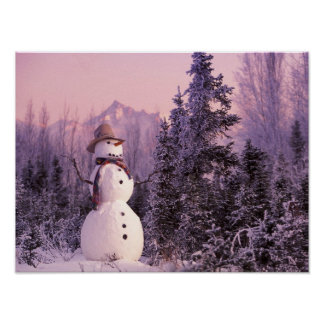 Sunset Snowman in the Winter Mountains Poster