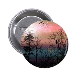 Sunset Solitude Gothic Landscape Fantasy Pinback Button