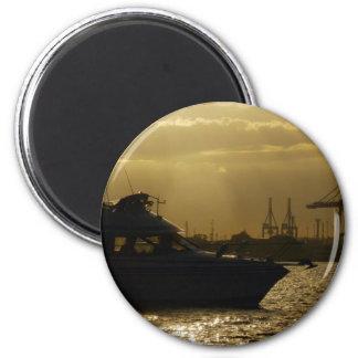 Sunset Speedboat Silhouette Magnet