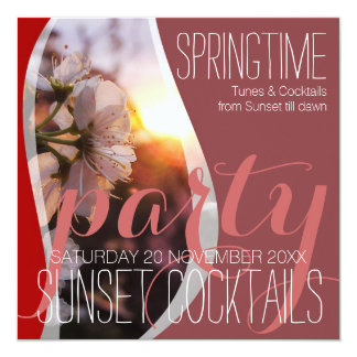 Sunset Spring Blossoms Cocktail Party Invitations