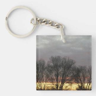 Sunset Square Key Ring