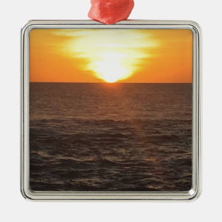 SUNSET SQUARE METAL CHRISTMAS ORNAMENT