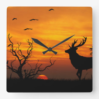sunset square wall clock