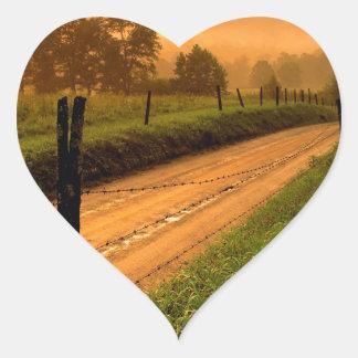 Sunset Ss Lane At Cades Cove Nationa Heart Sticker