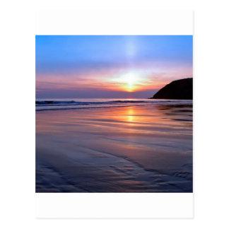 Sunset St Bees Footprint Postcard
