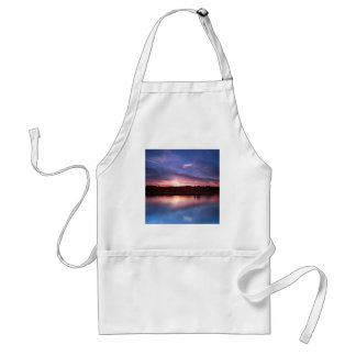 Sunset Still Lake At Dusk Adult Apron