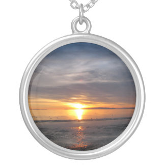Sunset Storm Round Pendant Necklace