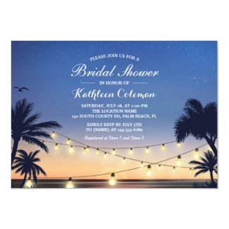 Sunset String Lights Palm Beach Bridal Shower Invitation