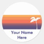 Sunset Stripes Round Sticker
