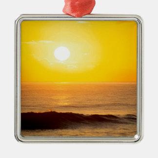Sunset Sun Kissed Waves Kauai Hawaii Square Metal Christmas Ornament