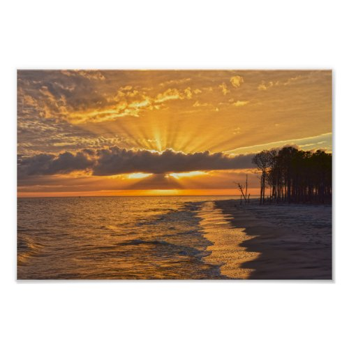 Sunset Sunbeams on Dauphin Island, Alabama Poster